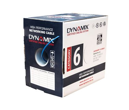Picture of DYNAMIX 305m Blue 24 AWG Cat6 Cable Roll in a Reelex II box.