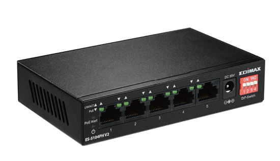Picture of EDIMAX 5 Port 10/100 Fast Ethernet with 4x PoE+ ports and DIP Switch.