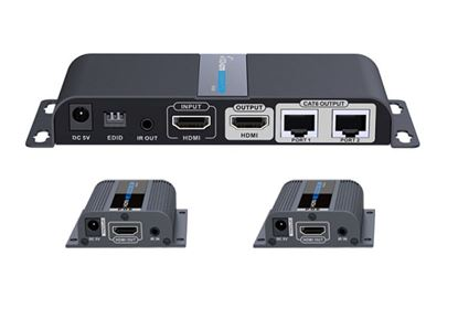Picture of LENKENG 1 in 2 Out HDMI Extender. 1x HDMI in to 2x RJ45 out. 2x