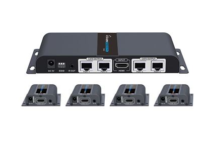 Picture of LENKENG 1 in 4 Out HDMI Extender. 1x HDMI in to 4x RJ45 out. 4x