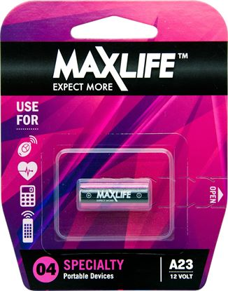 Picture of MAXLIFE A23 Alkaline 12V Battery. 1Pk.