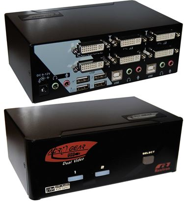 Picture of REXTRON 2 Port Dual-View DVI/USB KVM Switch with Audio,Colour Black.