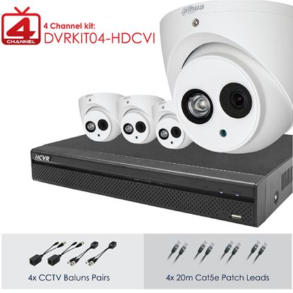 Picture of DAHUA Full HD 4 Channel Digital Surveillance Kit. Incl. 4 Port HD