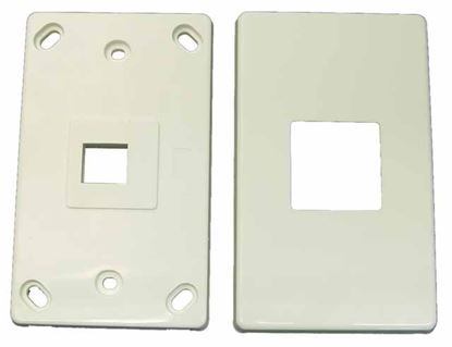Picture of DYNAMIX Single Port RJ45 Keystone Face Plate - 2x piece. Horizontal