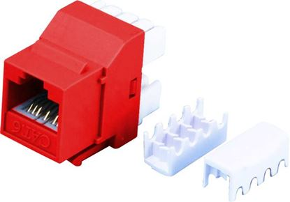 Picture of DYNAMIX Cat6 RED Keystone RJ45 Jack for 110 Face Plate T568A/T568B