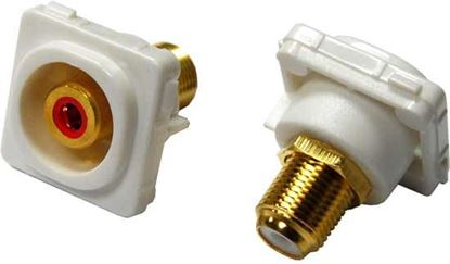 Picture of AMDEX Red RCA to F Connector. Gold Plated