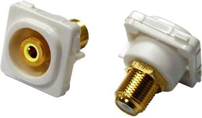 Picture of AMDEX Yellow RCA to F Connector. Gold Plated