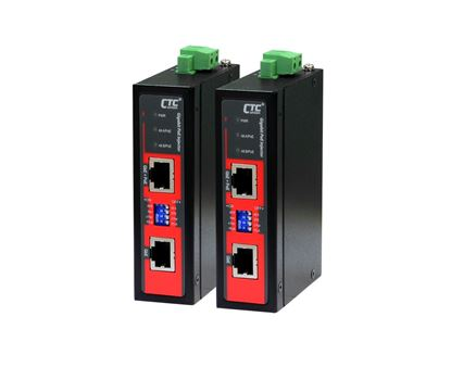 Picture of CTC UNION 1 Port Gigabit 48V DC PoE Injector. -40°C~75°C. PoE+ power