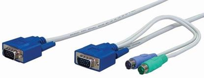 Picture of REXTRON 1.8m, 3-to-1 PS2 KVM Switch Cable. All in one HD DB15