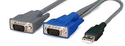 Picture of REXTRON 3m, 2-to-1 USB KVM Switch Cable All in 1x HD DB15