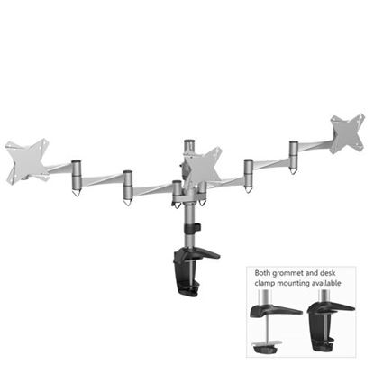 Picture of BRATECK 13'-21.5' Triple monitor desk mount. Extend, tilt and swivel