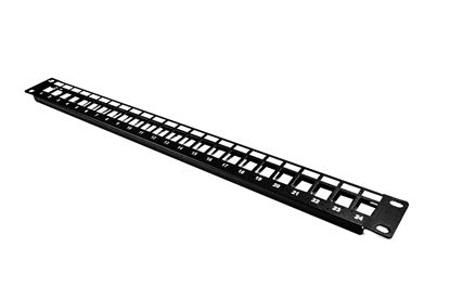 "Picture of DYNAMIX 19"" 24 Port Unloaded Patch Panel Keystone Inserts, 1RU"