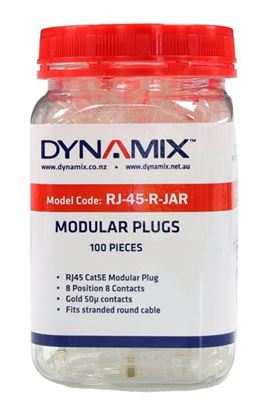 Picture of DYNAMIX RJ45 Plug 100pc Jar, 8P8C Modular Plug (Round, Stranded)