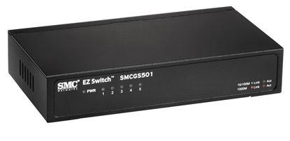 Picture of SMC 5 Port Gigabit Unmanaged Switch. Compact desktop case.