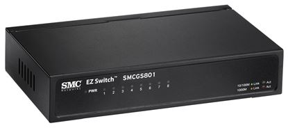 Picture of SMC 8 Port Gigabit Unmanaged Switch. Compact desktop case.