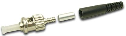 Picture of DYNAMIX ST Fibre Multimode Ceramic Connector. Supplied with a 3mm boot