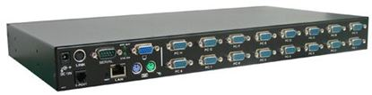 Picture of REXTRON 16 Port USB & PS2 KVM with integrated IP KVM module.