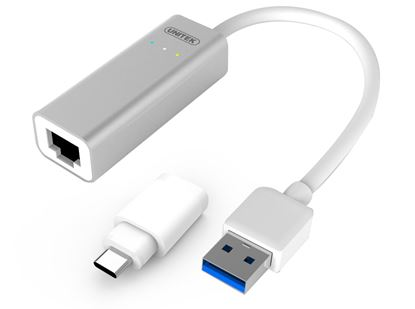 Picture of UNITEK USB-A 3.0 to Gigabit Ethernet Converter. Includes USB-C