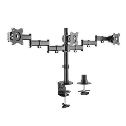 Picture of BRATECK 13'-27' Triple monitor desk mount. Rotate, tilt and swivel.