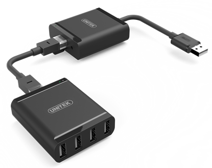 Picture of UNITEK USB 2.0 Extender over RJ45 + 4-Port USB-A Hub. Extender for USB