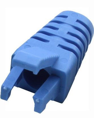 Picture of DYNAMIX BLUE RJ45 Strain Relief Boot - Slimline with Clip Protector