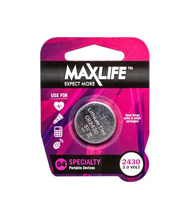 Picture of MAXLIFE CR2430 Lithium Button Cell Battery. 1 Pk