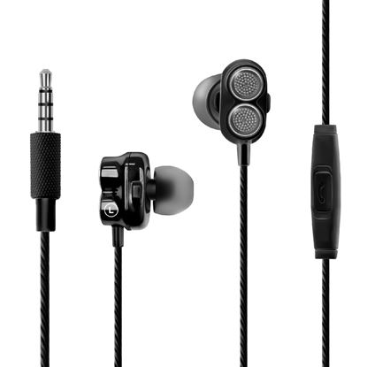 Picture of PROMATE Super Bass Dual Driver In-Ear Stereo Earphones. In-line