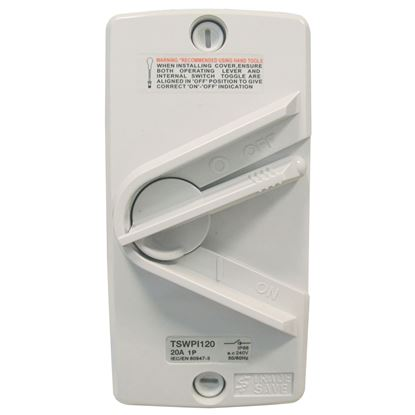Picture of TRADESAVE Weatherproof Isolator 1 Pole 240V 20A. Grey Heavy Duty