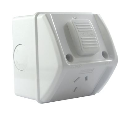 Picture of TRADESAVE Weatherproof Single IP53 Outlet. Grey Heavy Duty