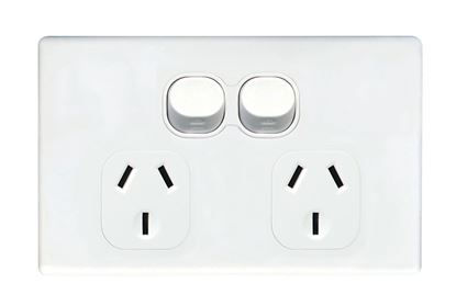 Picture of TRADESAVE Slim 10A Double Power Point. Removable Cover. Moulded in