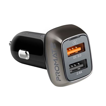 Picture of PROMATE 30W Car Charger with Dual USB Ports. 1x Qualcomm Quick Charge