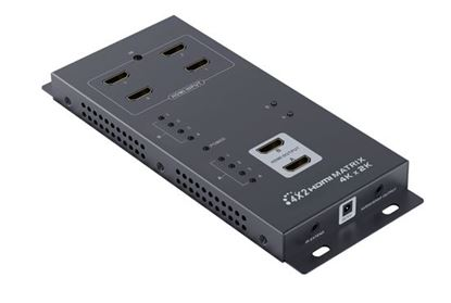 Picture of LENKENG HDMI Matrix Switch with 4x HDMI inputs & 2x HDMI Outputs.