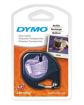 Picture of DYMO Genuine LetraTag Labeller Plastic Tape 12mm x 4M. Black on