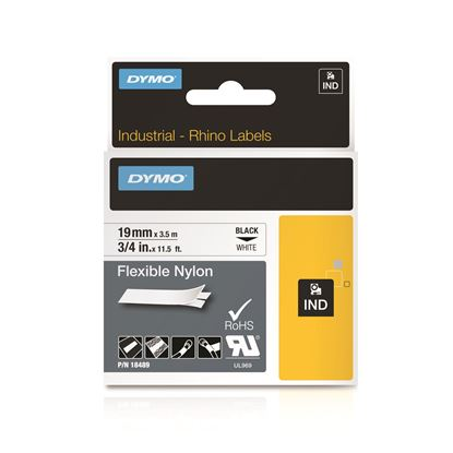 Picture of DYMO Genuine Rhino Industrial Labels-Flexible Nylon 19mm Black on