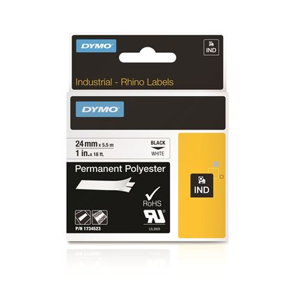 Picture of DYMO Genuine Rhino Industrial Label -Permanent Polyester 24mm Black on