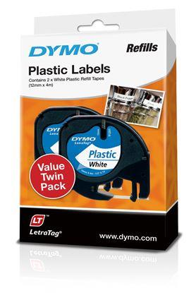 Picture of DYMO Genuine LetraTag Labeller Plastic 2PK Tape. 12mm x 4M White.