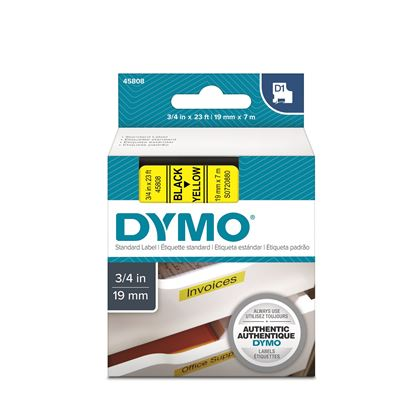 Picture of DYMO Genuine D1 Label Cassette Tape 19mm x 7M,  Black on Yellow