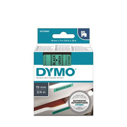 Picture of DYMO Genuine D1 Label Cassette Tape 19mm x 7M,  Black on Green