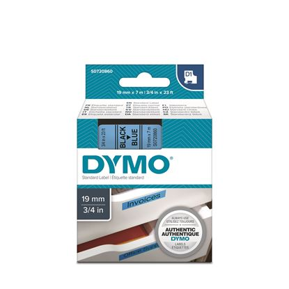 Picture of DYMO Genuine D1 Label Cassette Tape 19mm x 7M, Black on Blue