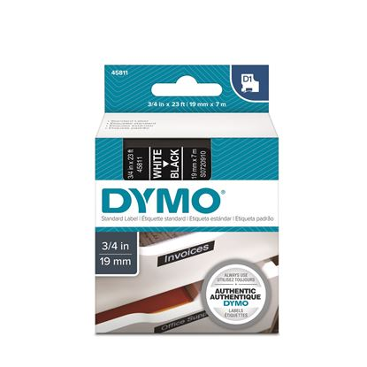 Picture of DYMO Genuine D1 Label Cassette Tape 19mm x 7M,  White on Black
