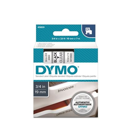 Picture of DYMO Genuine D1 Label Cassette Tape 19mm x 7M, Black on Clear