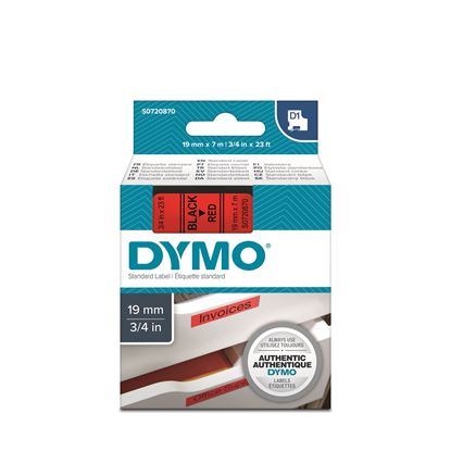 Picture of DYMO Genuine D1 Label Cassette Tape 19mm x 7M, Black on Red