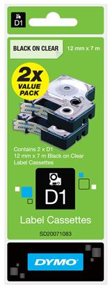 Picture of DYMO Genuine D1 Label Cassette Tape 12mm x 7M  Black on Clear 2-pack
