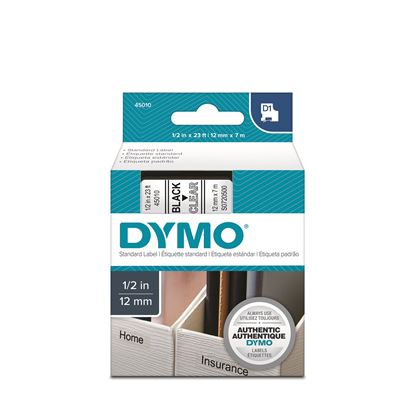 Picture of DYMO Genuine D1 Label Cassette Tape 12mm x 7M,  Black on Clear.