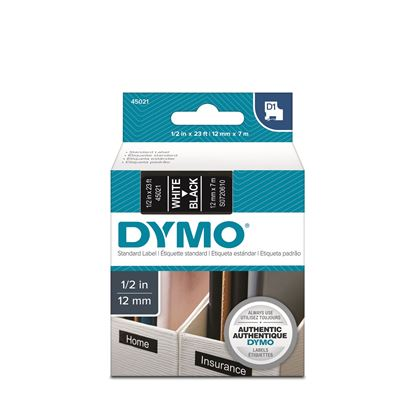 Picture of DYMO Genuine D1 Label Cassette Tape 12mm x 7M, White on Black