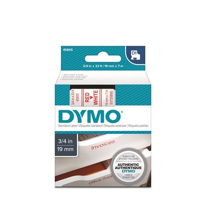 Picture of DYMO Genuine D1 Label Cassette Tape 19mm x 7M, Red on White