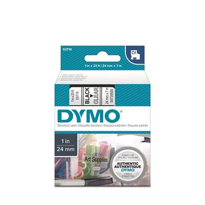 Picture of DYMO Genuine D1 Label Cassette Tape 24mm x 7M,  Black on Clear