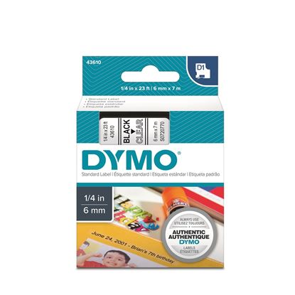 Picture of DYMO Genuine D1 Label Cassette Tape 6mm x 7M, Black on Clear