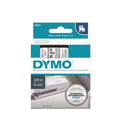 Picture of DYMO Genuine D1 Label Cassette Tape 9mm x 7M, Black on Clear