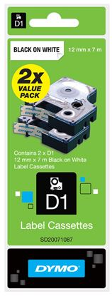 Picture of DYMO Genuine D1 Label Cassette Tape 12mm x 7M  Black on White  2-pack